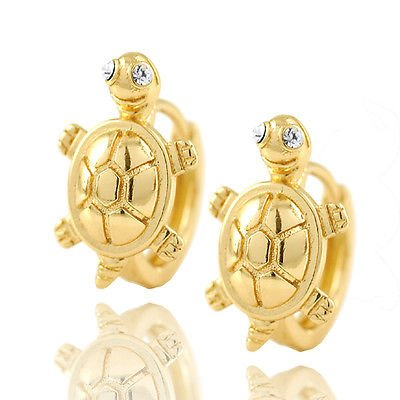 Meenanoom Womens Girls kids jewelery 14K Solid Gold Filled turtle Huggie Hoop Earrings
