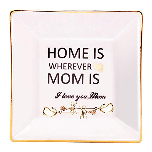 LEBOO Gift for Mom from Daughter or Son, Ceramic Ring Dish Decorative Jewelry Tray - Home is Wherever Mom is, Good Meanings Gift for Mother