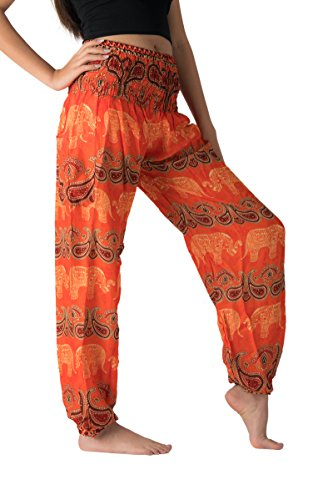 (Bangkokpants Women's Casual Pants Harem Bohemian Clothes Hippie Boho Yoga Outfits Smocked Waist (Gypsy Orange, One Size))