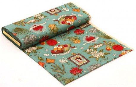 Tessuto turchese Viva Frida Alexander Henry Mexico fiori cuori