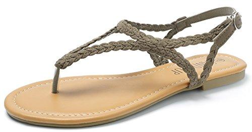 SANDALUP Braided Thong Flat Sandals w Hang Metal Buckle Women Light Khaki ()
