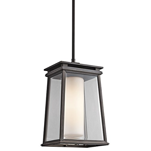 Kichler 49403RZ Lindstrom 1-Light Exterior Pendant, Rubbed Bronze Finish with Clear Beveled and Satin Etched (Kichler Copper Outdoor Pendant)