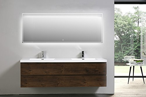 Moreno MOB Rose Wood Wall Mounted Modern Bathroom Vanity with Acrylic Sink (72 inch double sink) Rose Double Sink