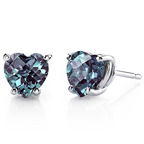 - 14 Karat White Gold Heart Shape 2.00 Carats Created Alexandrite Stud Earrings