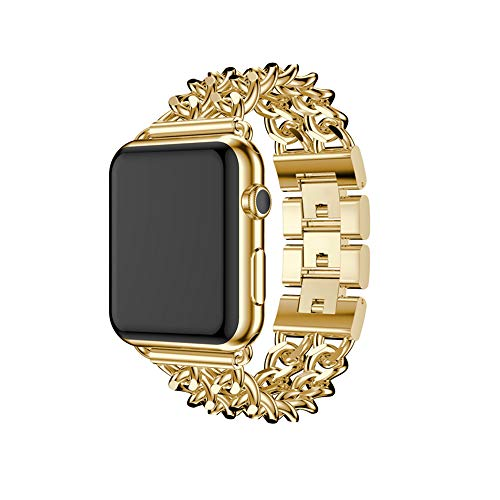 Women Men Luxury Premium Stainless Steel Metal Double Cowboy Chain Bracelet Link Replacement Wrist Strap Watch Band Compatible for Apple Watch Series 3 2 1 38mm 42mm (Yellow Gold, 42mm)