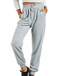 Zilcremo Women Casual Jogging Pants Elastic Waist Loose Sports Long Trousers