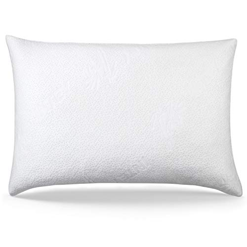 INTEY Shredded Memory Foam Pillow with Removable Washable Bamboo Bed Pillow Cover Hypoallergenic Dust Mite Resistant Standard Size