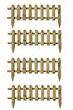 Ruddings Wood Pack of 4 x Wooden Panel Picket Fencing - Garden Wood Border Fence