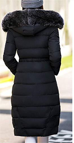 Chaud Avec Femme Manteau Schwarz Cheminée Mode Chic Fourrure Manches Elégante Parka Fausse En Stepp Doudoune Longues Hiver Épaissir Battercake Capuche xfXpqvf