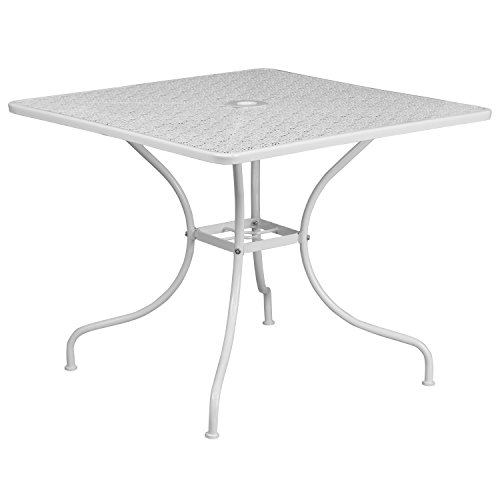 (Flash Furniture CO-6-WH-GG Metal 35.5SQ White Patio Table,)