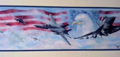 Wallpaper Border Air Force Jet Fighters American Flag & Eagle with Blue Trim by The Wallpaper and Border ()
