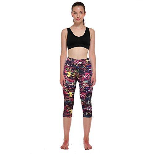 Fliegend Donna 3/4 Leggings Stampa Pantaloni da Yoga Push Up Pantaloni Sportivi Vita Alta Collant Elastici Leggins Colore 13