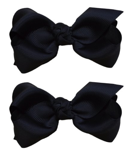 3 Inch Girls Boutique Hair Bow Set By Funny Girl Designs (Black)