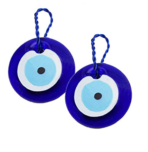 "We Pay Your Sales Tax [2 Pack] 3"" Large Size Turkish Blue Evil Eye (Nazar) ~ Blue Glass Evil Eye Amulet Charm Pendant for Protection (KT00101)"