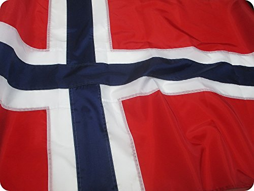 Norwegian Flag 3x5 ft - Beautiful, Durable, All Weather Nylon, Norway Flag with Fully Sewn Vibrant Stripes - UV Fade Resistant with Grommets - 100% Made in The USA
