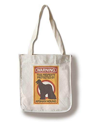 Lantern Press Afghan Hound - Warning (100% Cotton Tote Bag - Reusable)