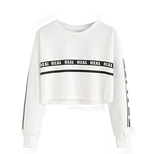 E-Scenery Women's Cotton Crop Sweatshirt Letter Print Crewneck Long Sleeve Pullover Tops (White, Small)