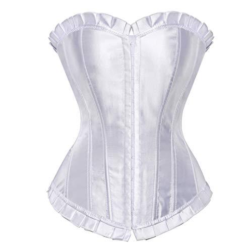 Women's Bustier Corset Top Sexy Lingerie Sets Black Satin Waist Cincher White 5X-Large -