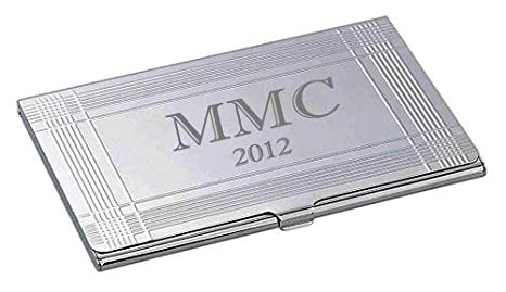 personalized silver business card case holder custom engraved free - Silver Business Card Holder