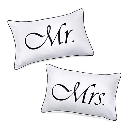 DasyFly 2PCS Mr and Mrs Pillow Cases,His and Hers Couples Pillowcases, Romantic Anniversary V-Day Christmas Wedding Gifts for The Couple,His and Hers Gifts for Him for Her -