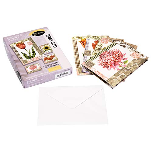 Well Cards Get Wishes (Card-Boxed-Get Well-Flowers-Set 1 (Box Of 12))