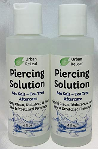 Urban ReLeaf Piercing Solution 8 oz! Healing Sea Salts & Botanical AFTERCARE. Safely Clean, Heal New & Stretched Piercings. Gentle ~ Effective ~ 100% Natural. Non-iodized. Vitamin Rich Botanicals!