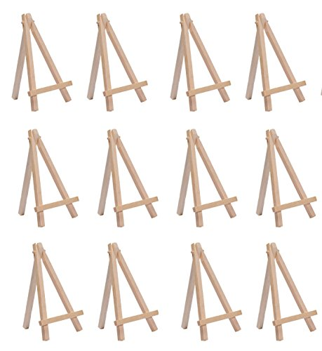 SL crafts 3.5Inch By 6.25 Inch Mini Wooden Easels Display (Pack of 12 Easels)