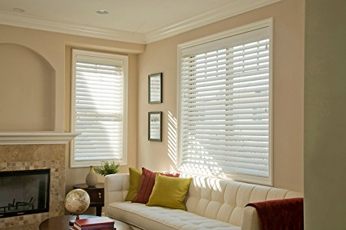 """Norman Blinds Custom-Made 2 ½"""" Slats Faux Wood Horizontal Routless ,Smart Privacy Blinds with Easy Mount Valences-Pure White (Blinds Norman Wood)"""