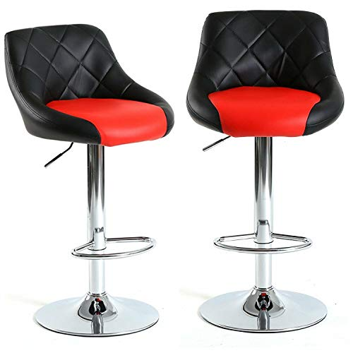 Prettyshop4246 Set of 2 Bar Stool Modern Style Counter Height Bar Restaurant Home Kitchen Pub Lounge Furniture Party Seat Footrest Extra Comfort Dining Enjoy Red Black Color Contemporary Seat Sit
