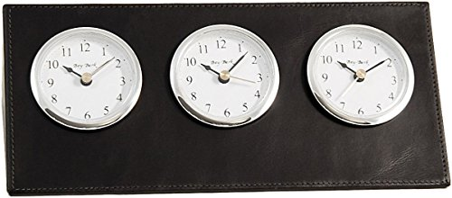 Multi Time Zone Clock (Black Leather Three Time Zone Clock)