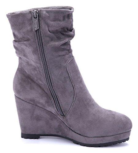 Schuhtempel24 Damen Schuhe Keilstiefeletten Stiefel Stiefeletten Boots Keilabsatz 9 cm Grau