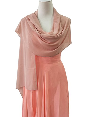 Emondora Women's Sheer Chiffon Bridal Wedding Evening Dress Shawls Scarves Blush M