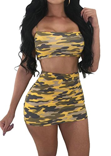 Club Outfit Mini Sexy Skirts Two Print Tops Domple Yellow Set Pieces Womens Camo vqTxC0