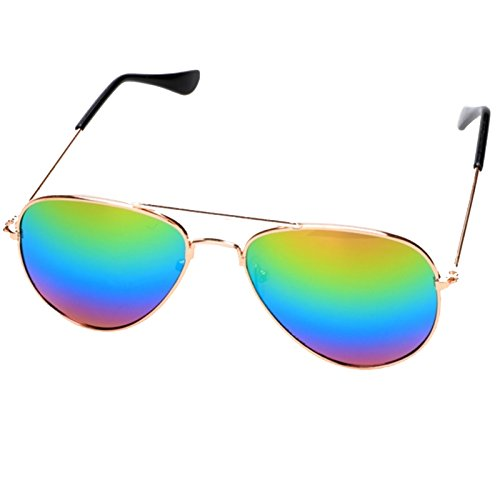 F&D Kids Aviator Sunglasses UV400 Polarized Classic Retro Reflective Lenses 45mm for Boys and Girls - Green Blue Aviators