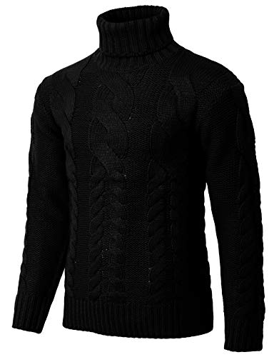 H2H Mens Casual Slim Fit Turtleneck Pullover Sweaters Knitted Long Sleeve Twisted Black US M/Asia L ()