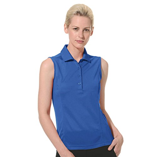 (Monterey Club Ladies Dry Swing Solid Lightweight Pique Sleeveless Polo #2064 (Rich Blue, Small))