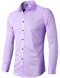 FLY HAWK Men's Bamboo Dress Shirt Button Down Casual Long Sleeve Slim Fit Shirts
