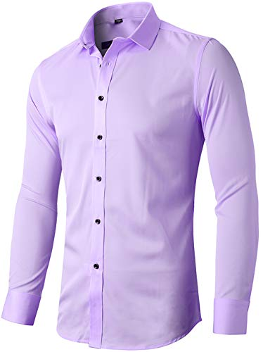 Mens Fiber Casual Button Up Slim Fit Collared Formal Shirts, Violet, 16
