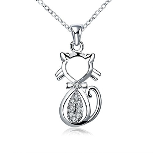 Tobert Women's Silver Plated Necklace Fashion Cat Diamond Necklace American Jewelry -