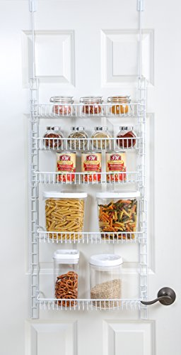 PRO-MART DAZZ Over The Door Adjustable Pantry Organizer Rack, 5 Shelves, Small