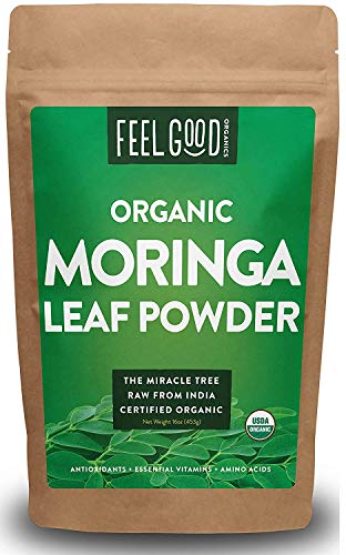 (Organic Moringa Oleifera Leaf Powder - Perfect for Smoothies, Drinks, Tea & Recipes - 100% Raw From India - 16oz Resealable Bag (1 Pound) - by Feel Good Organics)