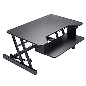 Standing Desk Adjustable Height Desk Riser Converter - Stand Up Desk with Retractable Keyboard Tray - Fit laptop and Computer Dual Monitors Supports up to 35 Lbs Stand Desk Black