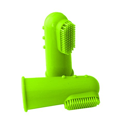 liyhh Small Large Dog Cat Pet Silicone Finger Toothbrush Dental Hygiene Brush Green ()
