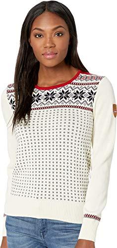 Dale of Norway Women's Garmisch Feminine Sweater, Off White/Navy/Raspberry, Large