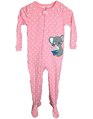 Carters Baby Girls Sleeper with footies, Peach (Elephant), 5T