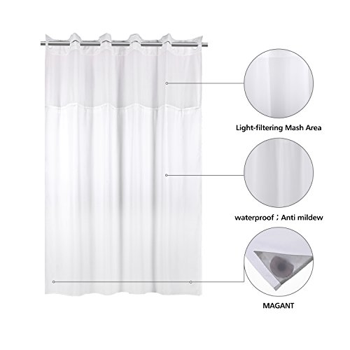 Amazon YQN Shower CurtainNo Need Hooks With Magnet 708 X 74 Inch Polyester Thickening Bath Curtain Light Filtering Mesh Screen Anti Mildew