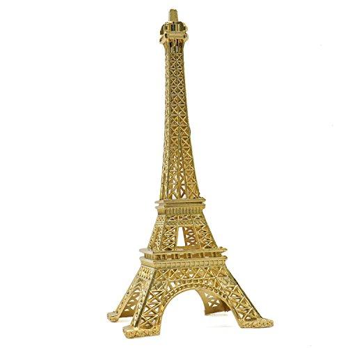 HUELE Eiffel Tower Decor Metal Paris Eiffel Tower Statue Decor France Stand for Cake Topper Home Decor (Gold)