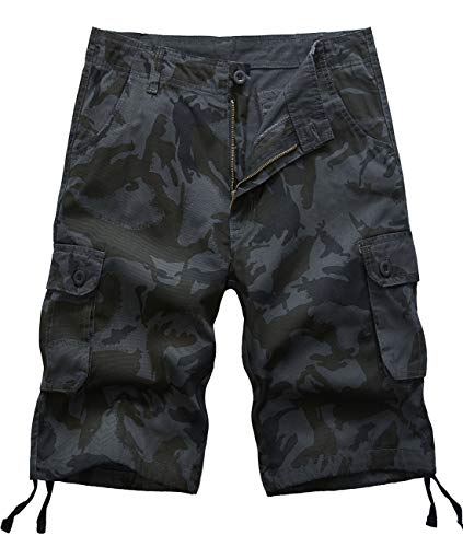 - Pinkpum Men's Overalls Shorts Camouflage Button Pocket Overalls Casual Tooling Shorts Black US34=36