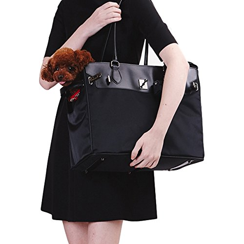 Black Large Black Large SAMOONDOH Black Pet Carrier for Cats and Dogs, can be Used as Tote and Travel Bag, Big and Small Size Available