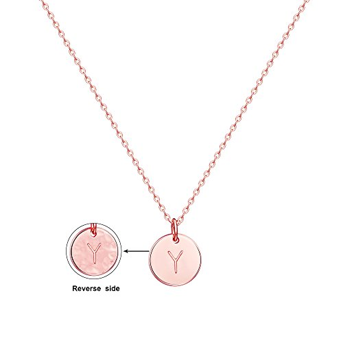 Befettly Initial Necklace Pendant 14K Rose Gold-Plated Round Disc Double Side Engraved Hammered Choker Necklace 16.26'' Adjustable Personalized Alphabet Letter Pendant Y